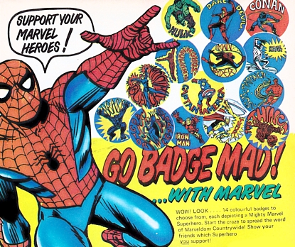 Marvel UK badges, December 1974