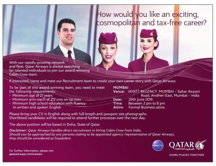qatar airways cabin crew recruitment in mumbai