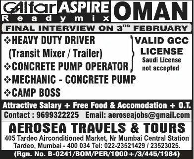 Galfar Jobs Oman Aerosea Travels and Tours