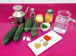 Ingredientes Sopa fría de pepino y especias