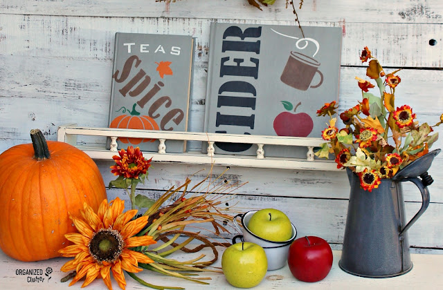 Thrift Shop Books to Fall DIY Decor #oldsignstencils #stencils #falldecor #upcycle