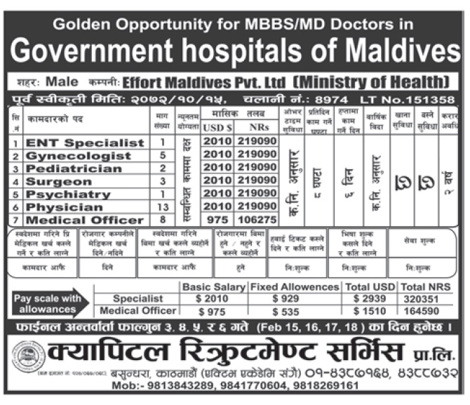 JOBS IN MALDIVES HOSPITAL, SALARY UP TO RS 2,19,000