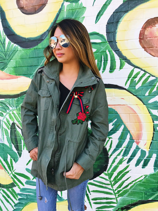 How to Style a Cargo Jacket, Cargo Jacket Style Steal, Cargo Embroidered Jacket, Avocado Wall Chicago