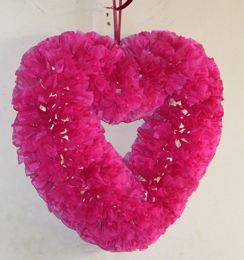 Tissue Paper Heart Wreath - DIY Crafty Projects