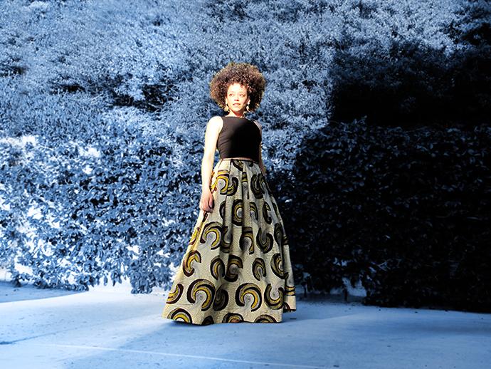 oonaballoona | african wax print maxi skirt | hell gate fabrics