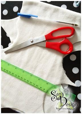 Sax, penna, linjal eller måttband för att mäta upp dina bitar!