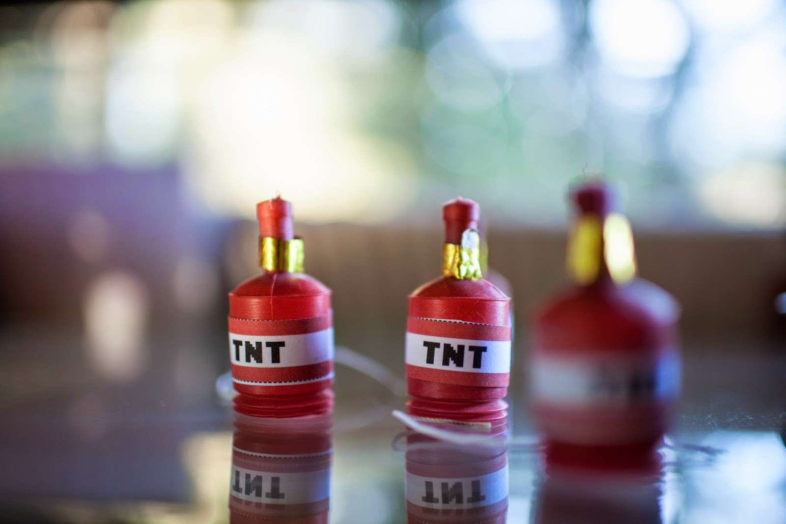 Easy TNT poppers for a kid's Minecraft party
