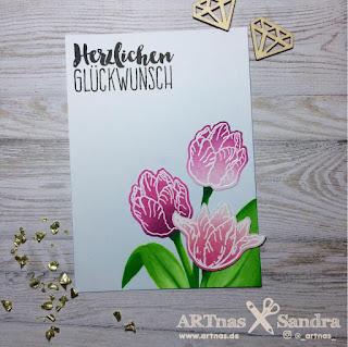Marianne Design Tinys Tulips und Klartext Stempel Glückwunsch