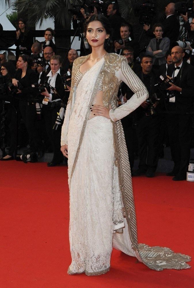 Sonam Kapoor in a white sari
