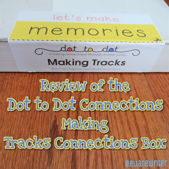 Dot to Dot Connections Making Tracks Connections Box on a wood floor with text. @ellanewriter watermark.
