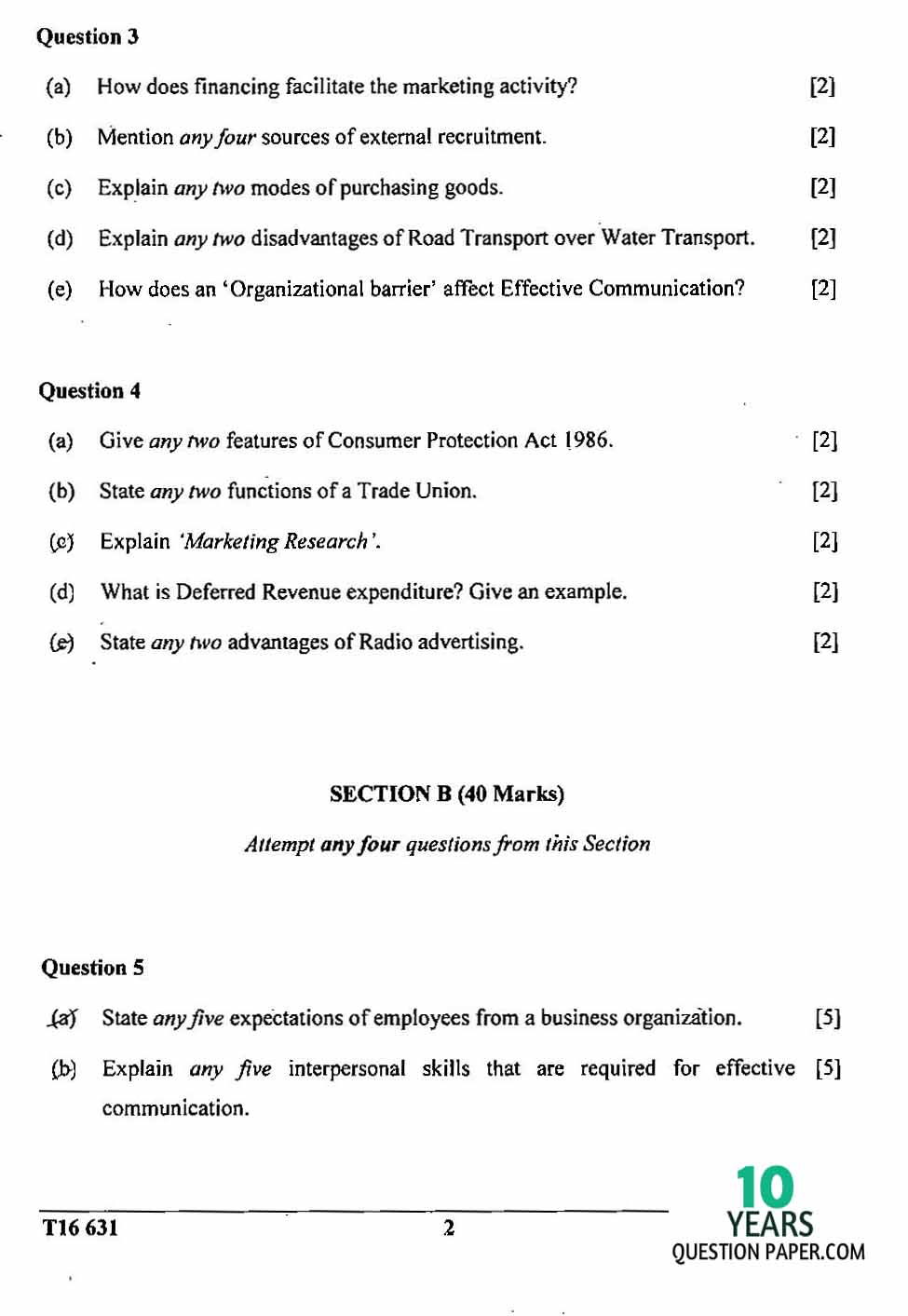 icse 2016 class 10th Commercial Studies question paper
