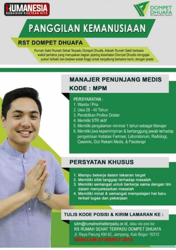 Lowongan Kerja Lowongan Kerja Rst Dompet Dhuafa Bogor Maret 2019