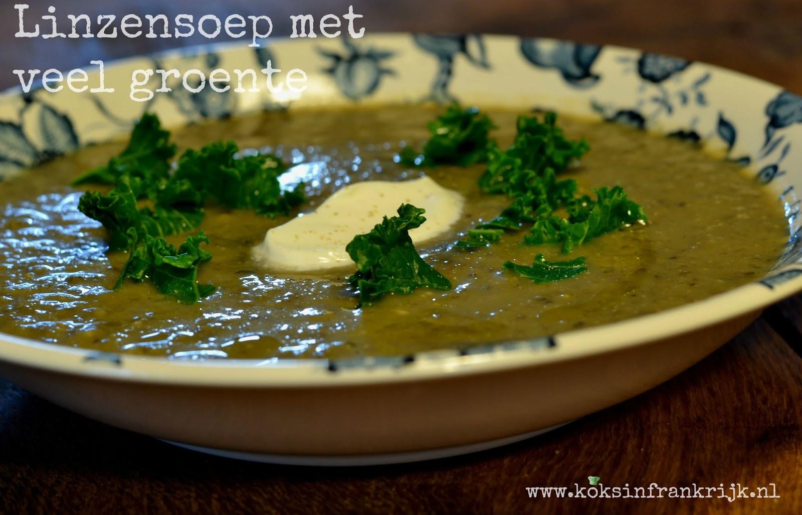 Gezonde linzensoep met veel groente. Vegetarisch en glutenvrij. Geschikt voor de slowcooker.