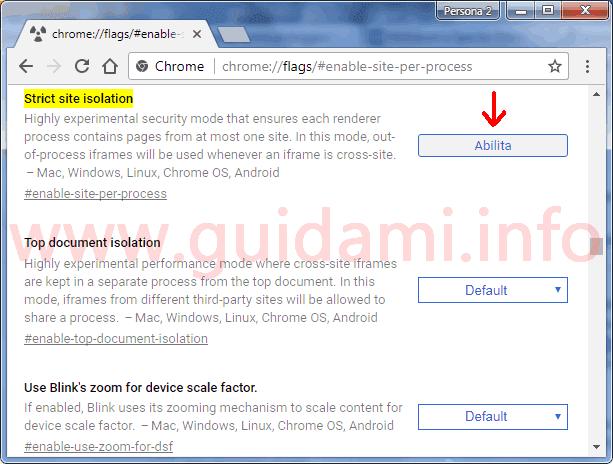 Chrome attivare funzione sperimentale Strict site isolation