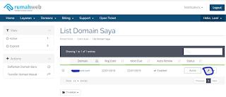 cara menghubungkan domain com Rumahweb ke blogspot