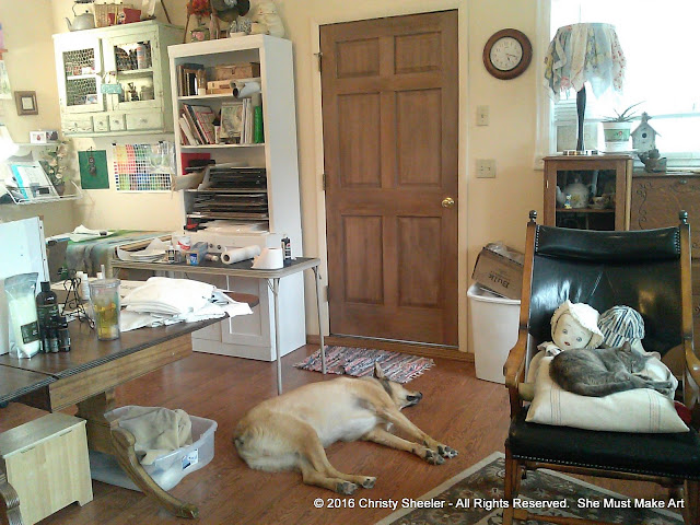 The animals sleep nearby while I work on multiple projects in my art room.