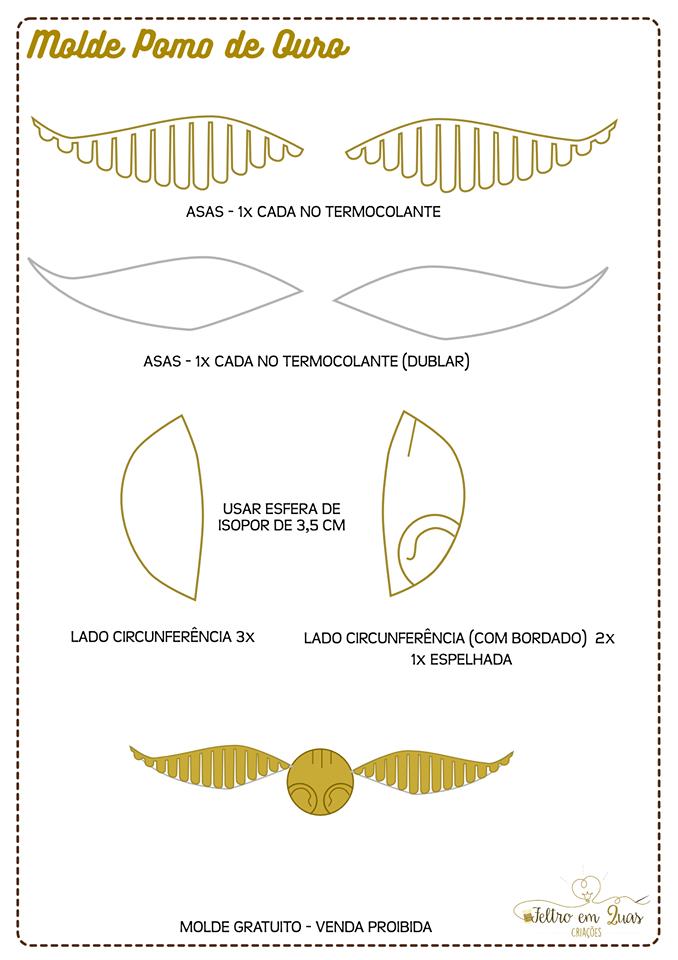 Aparador Sala De Jantar Rustico ~ Eu Amo Artesanato Pomo de ouro do Harry Potter com molde