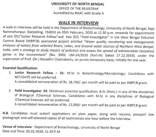 University of North Bengal Microbiology/Biotech JRF Walk INs Ad Image