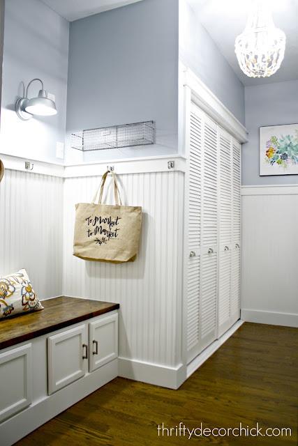 Classic white beadboard mud room