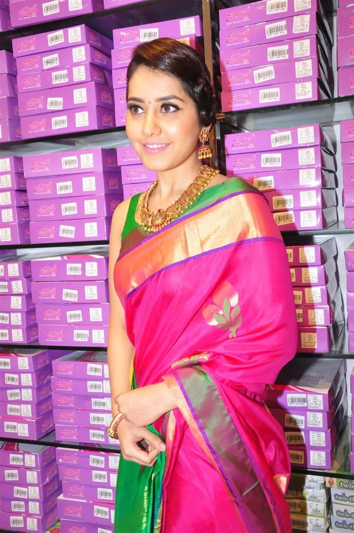 Rashi Khanna Photos Hip navel Show At Shop Launch In Red Designer Saree