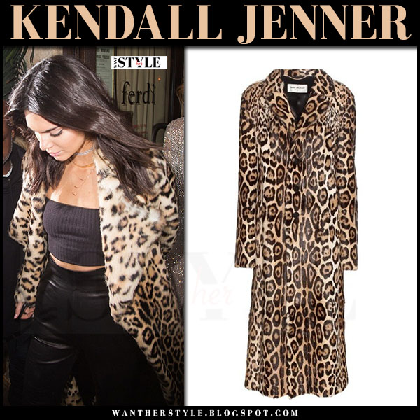 Kendall Jenner in leopard print coat saint laurent what she wore