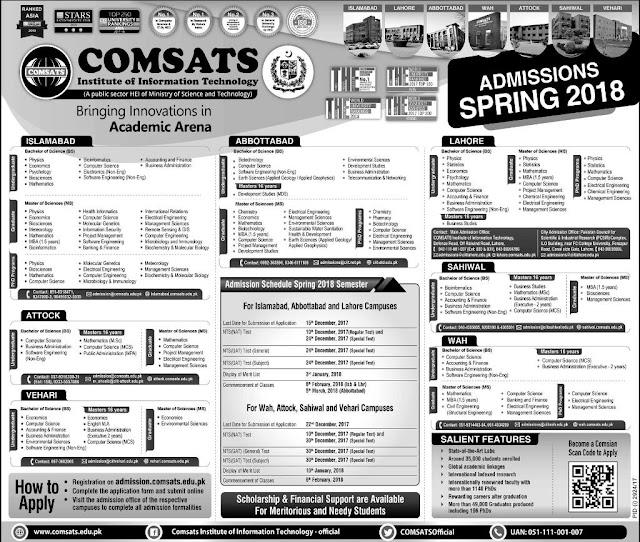 COMSATS BS & MS Admissions 2018,admissions 2018,admissions in COMSATS,ms admissions comsats,Bs admissions comsats,admissions 2018