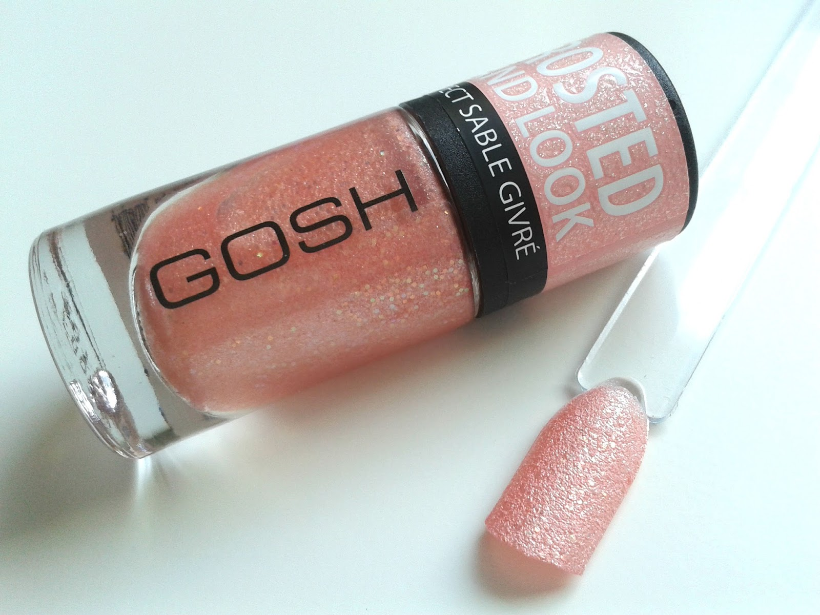 GOSH Frosted Sand Nail Lacquers Soft Coral Review Swatch