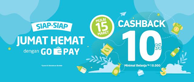 #Alfacart - #Promo Jum'at Hemat & Dapatkan Cashback 10% Belanja Pakai GOPAY (s.d 31 Maret 2019)