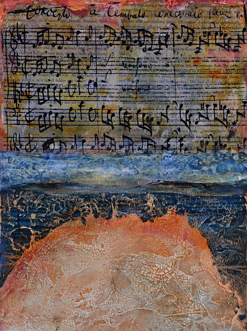 musical notes and crackle textured painting