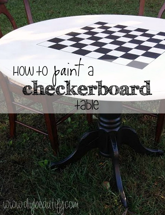 how to paint a checkerboard on a table at www.diybeautify.com