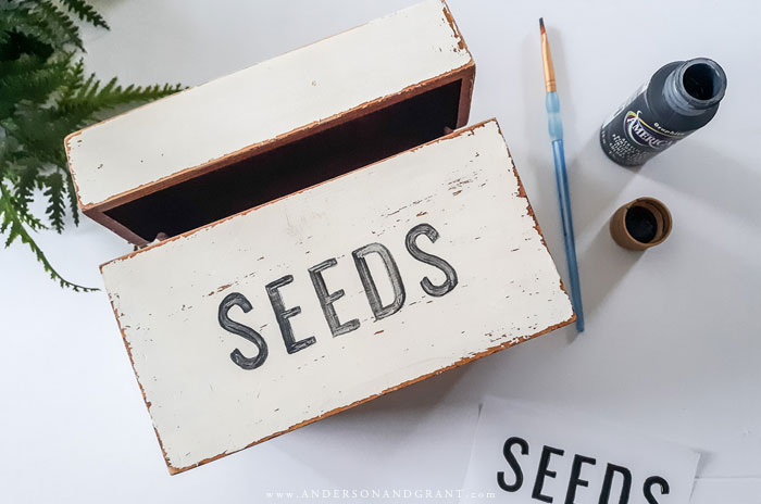 SEEDS painted on wood recipe box