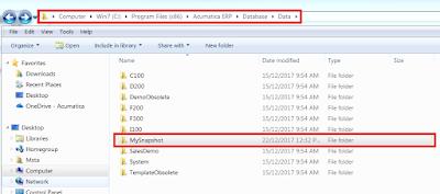 Acumatica Database Data Folder