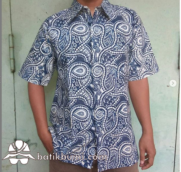 Kemeja Batik Slimfit Motif Cakra Biru