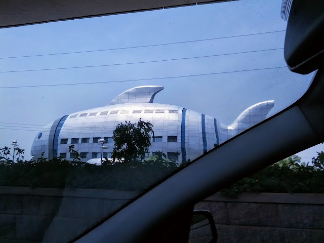 Points of interest in Hyderabad India: fish-shaped building