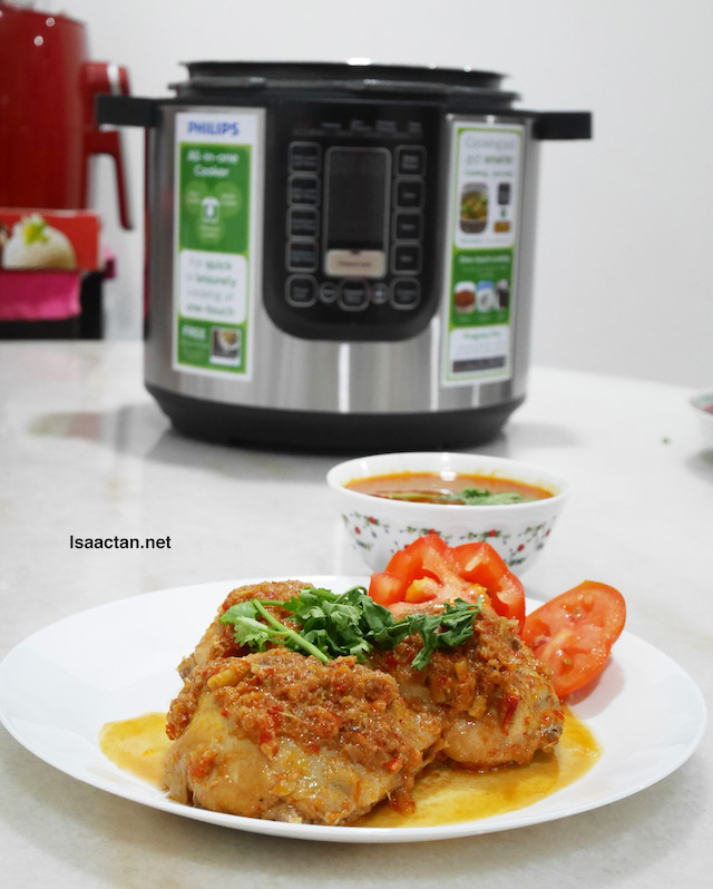 My Ayam Percik with the Philips All-in-One Pressure Cooker used to cook it in the background