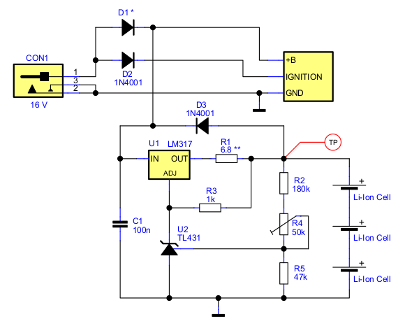 Car audio Battery backup circuit with 3 cells