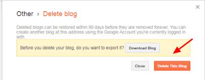 delete blogger blog, remove blogger blog, permanently delete blogger blog,