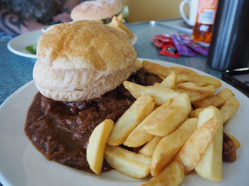 Dark Island steak pie with chips on the Northlink ferry