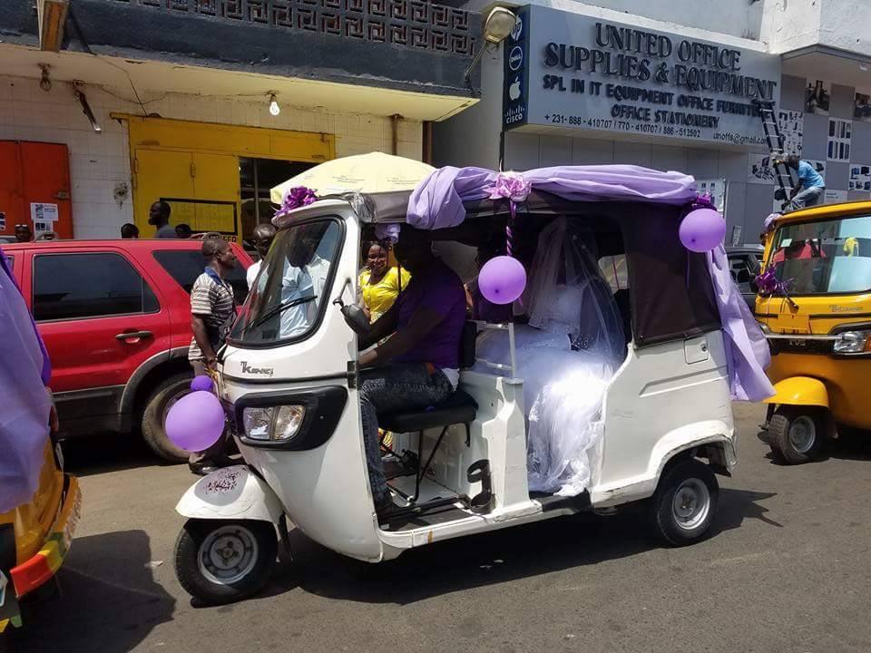 Aww! Liberian couple use keke convoy to arrive wedding venue