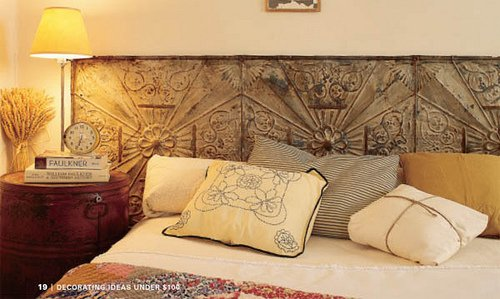 I Love The Weathered Look Of These Old Tin Tiles Used As A Headboard