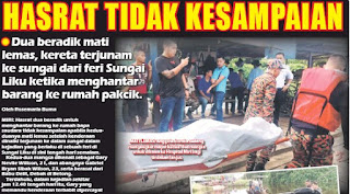 Dua Beradik Mati Lemas, Kereta terjunam Ke Sungai