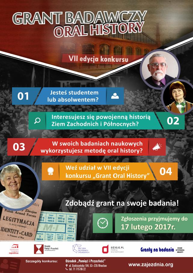 Grant Oral History VII - konkurs dla historyków - plakat reklamowy