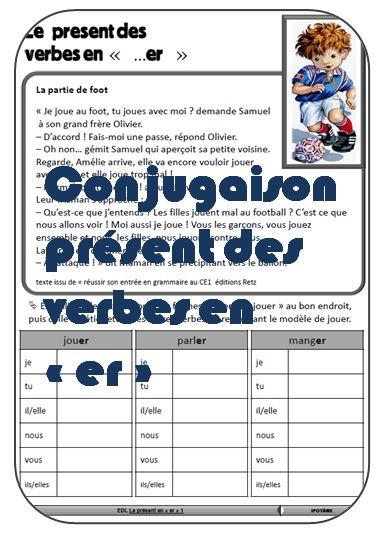 Ipotame Tame Conjugaison Ce1 Le Present Verbes En Er