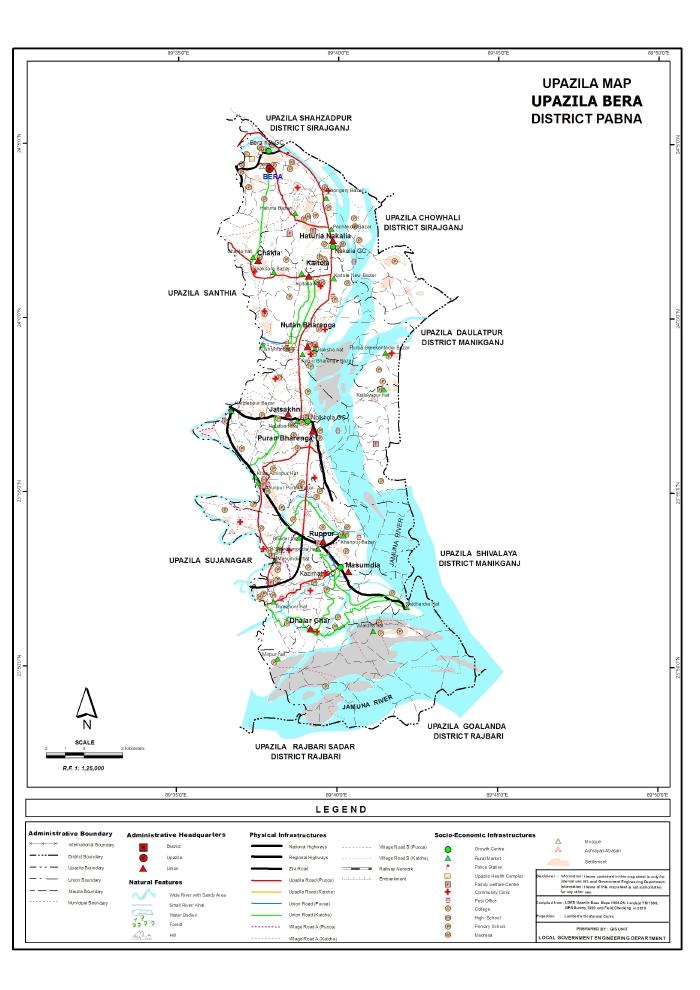 Bera Upazila Map Pabna  District Bangladesh