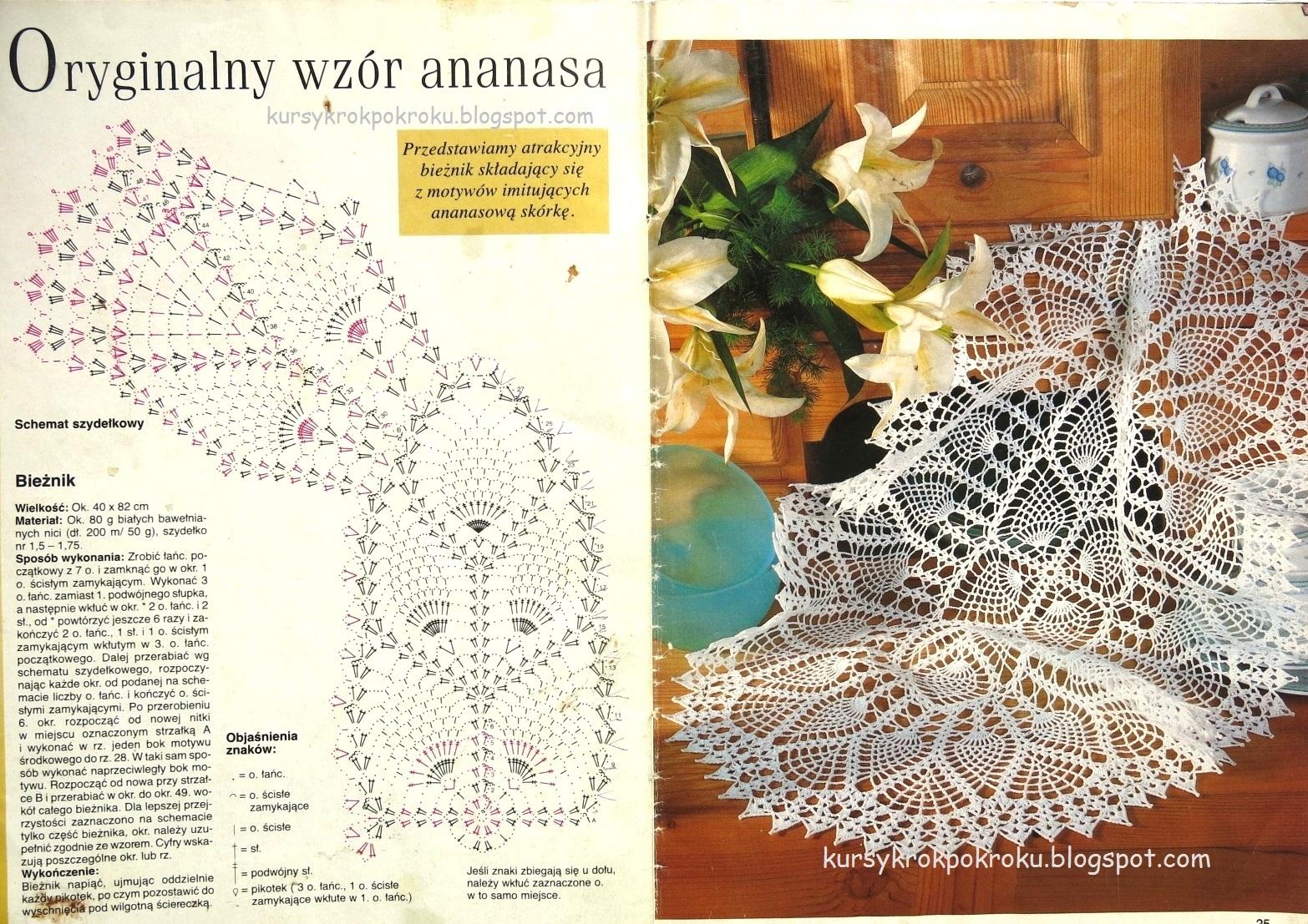 Serwetka w wyjątkowe wzory ananasa - schemat i opis