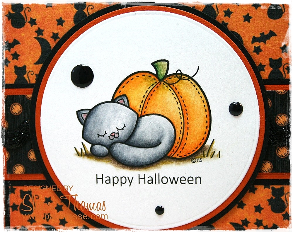 paperesse 2 cute ink sleepy cat halloween card