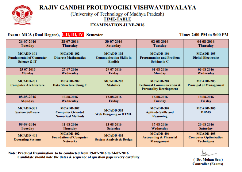 Rgpv m c a dual degree 2nd sem grading system for Rgpv time table 5 th sem