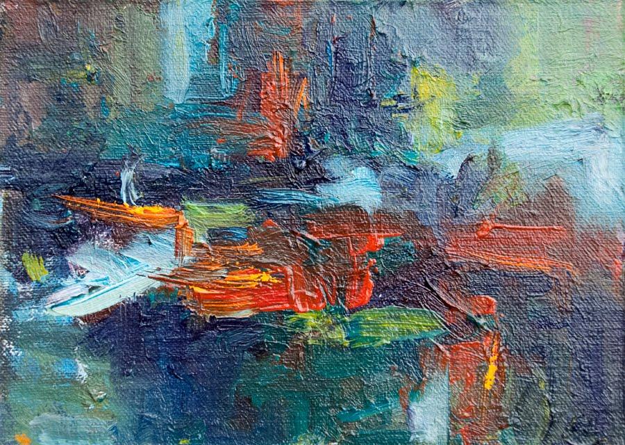 Kit Hevron Mahoney Fine Art: KMA2658 Movement in Red