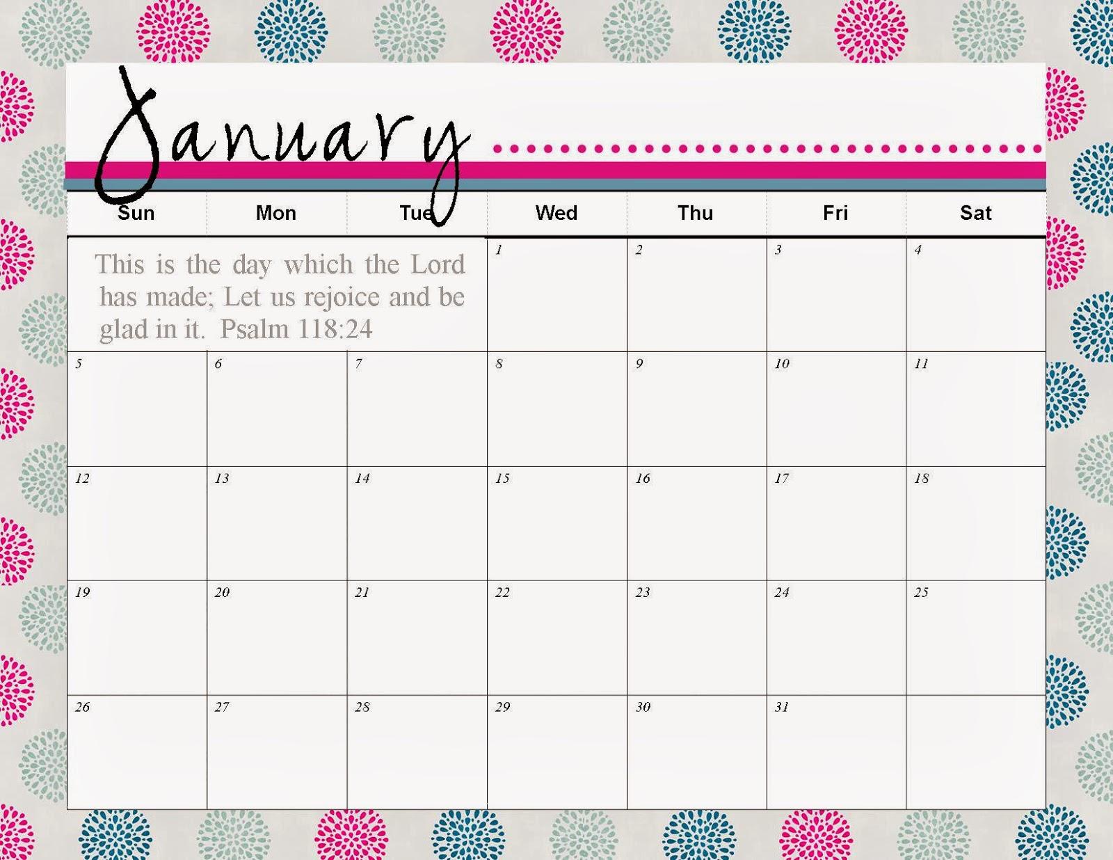 The Blogging Pastors Wife Printable Calendar January