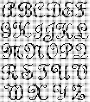 Free Swirly Script Alphabet Cross Stitch Chart